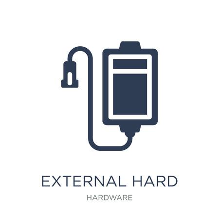 Icono de disco duro externo. Icono de disco duro externo de moda vector plano sobre fondo blanco de la colección de hardware, Ilustración de vectores se puede utilizar para web y móvil, eps10