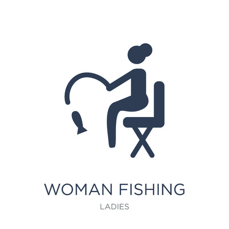 Woman Fishing icon. Trendy flat vector Woman Fishing icon on white background from Ladies collection, vector illustration can be use for web and mobile, eps10