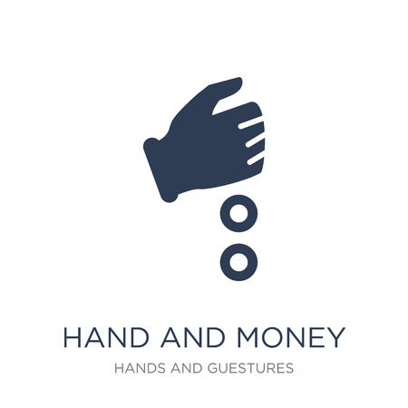 Hand and Money icon. Trendy flat vector Hand and Money icon on white background from Hands and guestures collection, vector illustration can be use for web and mobile, eps10 Çizim