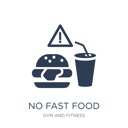No Fast Food icon. Trendy flat vector No Fast Food icon on white background from Gym and fitness collection, vector illustration can be use for web and mobile, eps10 Иллюстрация