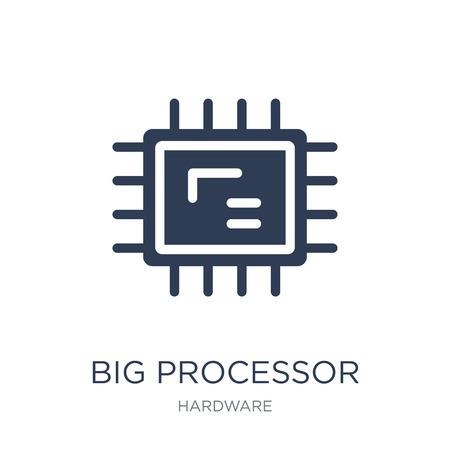 Big Processor icon. Trendy flat vector Big Processor icon on white background from hardware collection, vector illustration can be use for web and mobile, eps10 Stock Vector - 112138813