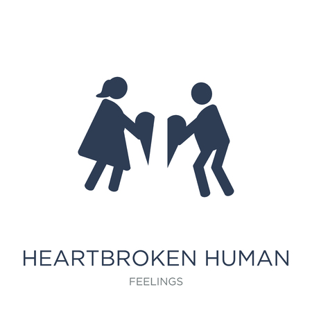 heartbroken human icon. Trendy flat vector heartbroken human icon on white background from Feelings collection, vector illustration can be use for web and mobile, eps10