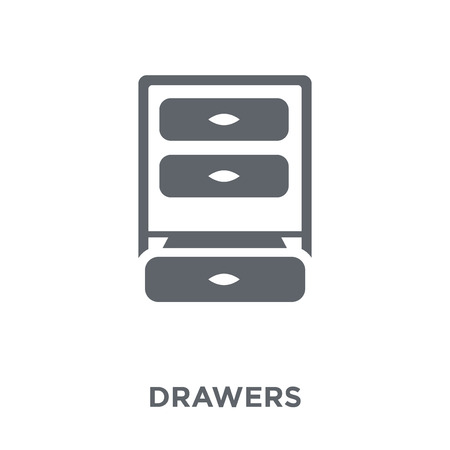 Drawers icon. Drawers design concept from Furniture and household collection. Simple element vector illustration on white background. Archivio Fotografico - 112138989