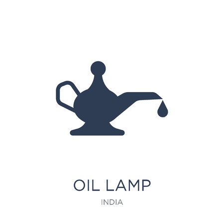 Oil Lamp icon. Trendy flat vector Oil Lamp icon on white background from india collection, vector illustration can be use for web and mobile, eps10