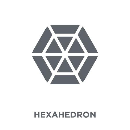 Hexaeder-Symbol. Hexaeder-Designkonzept aus der Geometrie-Kollektion. Einfache Elementvektorillustration auf weißem Hintergrund.
