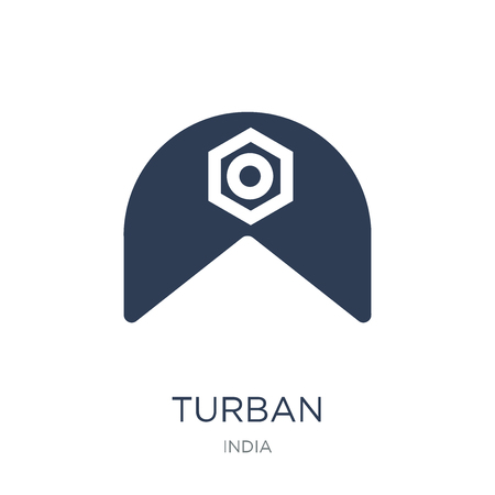 Turban icon. Trendy flat vector Turban icon on white background from india collection, vector illustration can be use for web and mobile, eps10 Иллюстрация