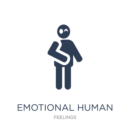 emotional human icon. Trendy flat vector emotional human icon on white background from Feelings collection, vector illustration can be use for web and mobile, eps10 向量圖像