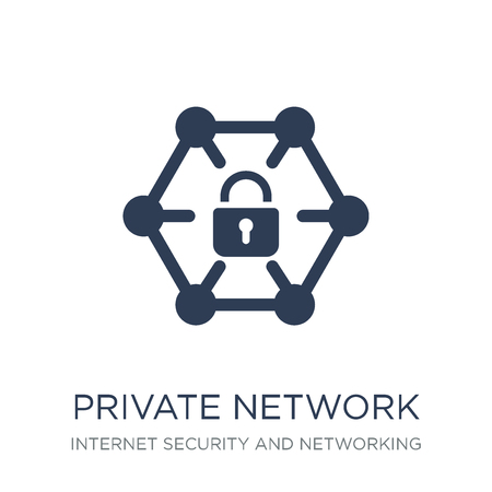 Private network icon. Trendy flat vector Private network icon on white background from Internet Security and Networking collection, vector illustration can be use for web and mobile, eps10 Illustration