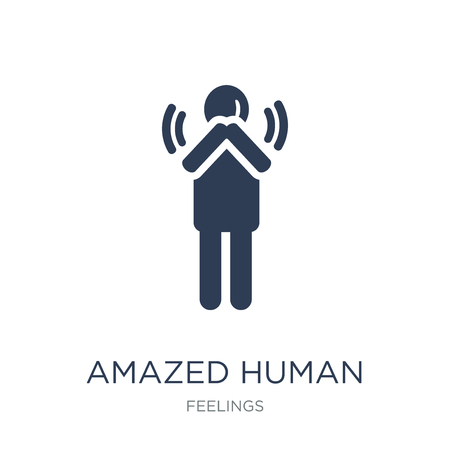 amazed human icon. Trendy flat vector amazed human icon on white background from Feelings collection, vector illustration can be use for web and mobile, eps10 向量圖像
