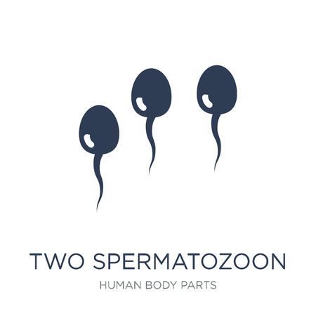 Two Spermatozoon icon. Trendy flat vector Two Spermatozoon icon on white background from Human Body Parts collection, vector illustration can be use for web and mobile, eps10 Ilustração