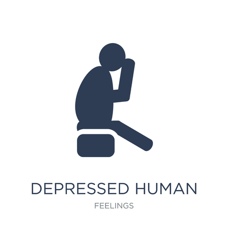 depressed human icon. Trendy flat vector depressed human icon on white background from Feelings collection, vector illustration can be use for web and mobile, eps10