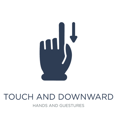 Touch and downward sliding gesture icon. Trendy flat vector Touch and downward sliding gesture icon on white background from Hands and guestures collection, vector illustration can be use for web and mobile, eps10 Ilustrace