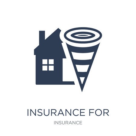 Insurance for home of tornado icon. Trendy flat vector Insurance for home of tornado icon on white background from Insurance collection, vector illustration can be use for web and mobile, eps10 Illustration