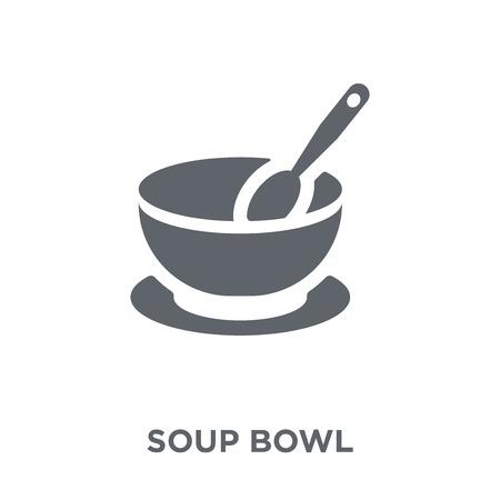 icono de tazón de sopa. concepto de diseño de tazón de sopa de colección de cocina. Ilustración de vector de elemento simple sobre fondo blanco. Ilustración de vector