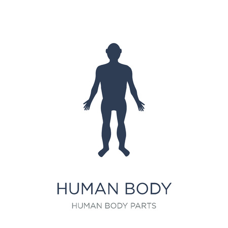 Human body standing black icon. Trendy flat vector Human body standing black icon on white background from Human Body Parts collection, vector illustration can be use for web and mobile, eps10