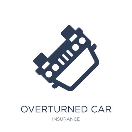 Icona dell'auto capovolta. Icona di auto ribaltata piatto vettoriale su priorità bassa bianca da collezione di assicurazioni, illustrazione vettoriale può essere utilizzato per il web e mobile, eps10