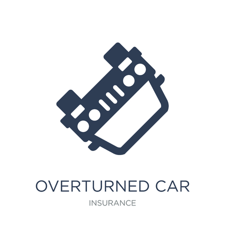 Overturned car icon. Trendy flat vector Overturned car icon on white background from Insurance collection, vector illustration can be use for web and mobile, eps10 Ilustração