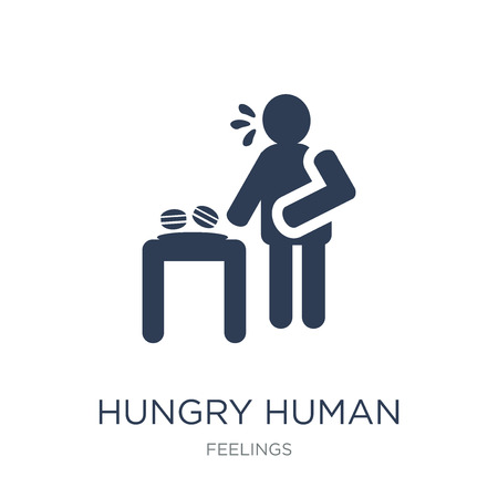 hungry human icon. Trendy flat vector hungry human icon on white background from Feelings collection, vector illustration can be use for web and mobile, eps10