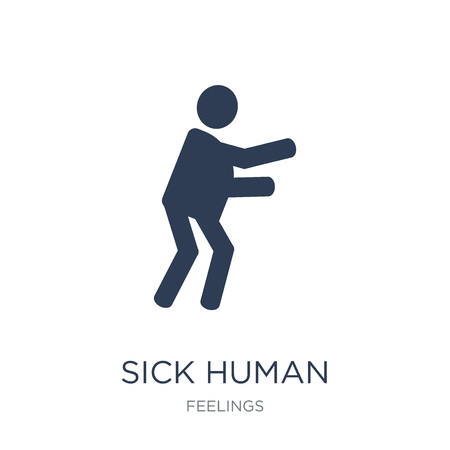 sick human icon. Trendy flat vector sick human icon on white background from Feelings collection, vector illustration can be use for web and mobile, eps10 Illustration