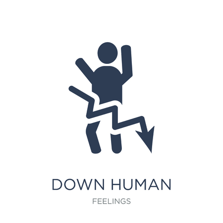 down human icon. Trendy flat vector down human icon on white background from Feelings collection, vector illustration can be use for web and mobile, eps10