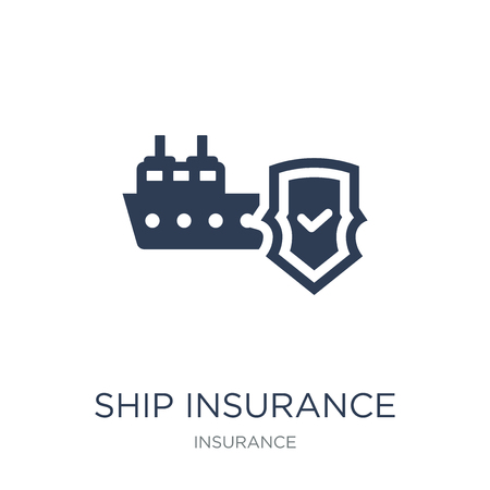 Ship insurance icon. Trendy flat vector Ship insurance icon on white background from Insurance collection, vector illustration can be use for web and mobile, eps10 Imagens - 112202641