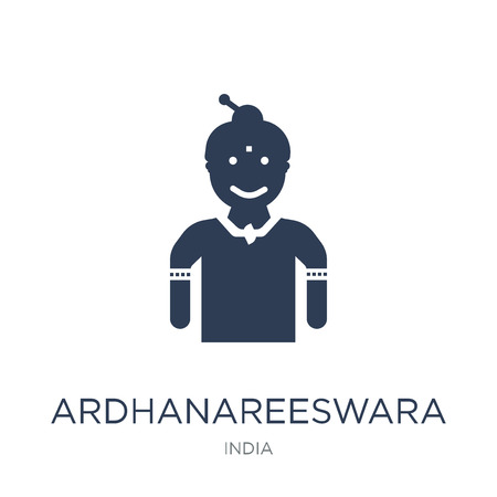 Ardhanareeswara icon. Trendy flat vector Ardhanareeswara icon on white background from india collection, vector illustration can be use for web and mobile, eps10  イラスト・ベクター素材