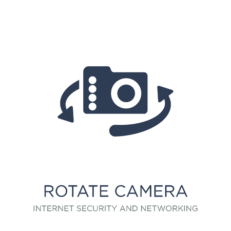 Rotate camera icon. Trendy flat vector Rotate camera icon on white background from Internet Security and Networking collection, vector illustration can be use for web and mobile, eps10 Çizim