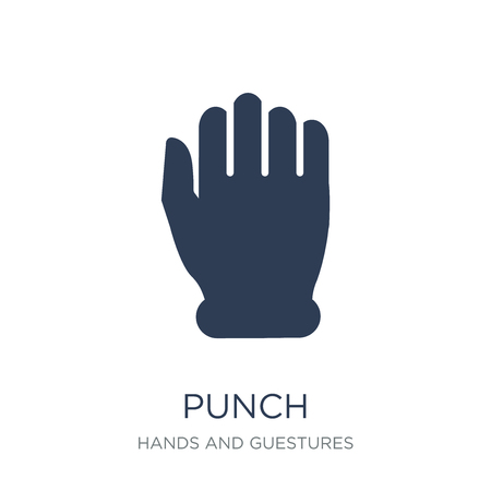 Punch icon. Trendy flat vector Punch icon on white background from Hands and guestures collection, vector illustration can be use for web and mobile, eps10 Illustration
