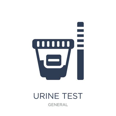 icona del test delle urine. Icona di test delle urine piatto vettoriale su priorità bassa bianca da collezione generale, illustrazione vettoriale può essere utilizzato per il web e mobile, eps10