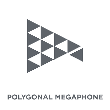 Polygonal megaphone icon. Polygonal megaphone design concept from Geometry collection. Simple element vector illustration on white background.