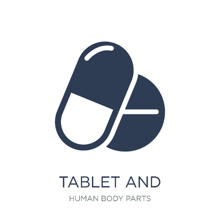 Tablet and capsule medications icon. Trendy flat vector Tablet and capsule medications icon on white background from Human Body Parts collection, vector illustration can be use for web and mobile, eps10 Stockfoto - 112203366