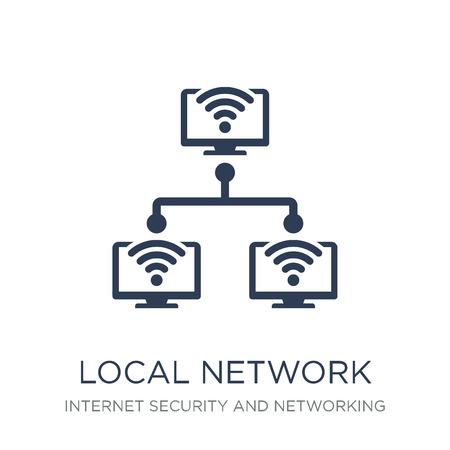 Symbol für lokales Netzwerk. Trendiges flaches Vektorsymbol für lokales Netzwerk auf weißem Hintergrund aus der Internetsicherheits- und Netzwerksammlung, Vektorillustration kann für Web und Mobile verwendet werden, eps10 Vektorgrafik