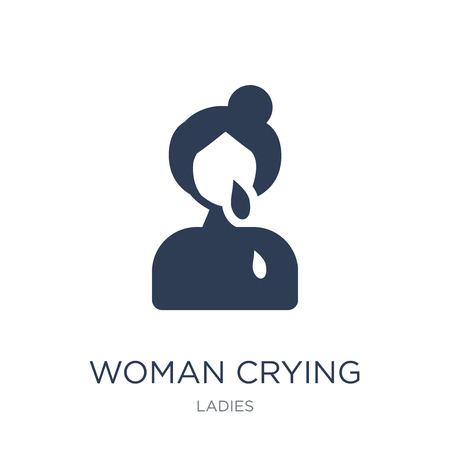 Woman Crying icon. Trendy flat vector Woman Crying icon on white background from Ladies collection, vector illustration can be use for web and mobile, eps10