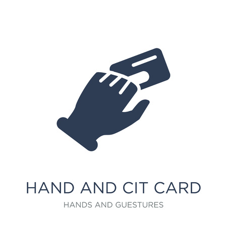 Hand and Credit Card icon. Trendy flat vector Hand and Credit Card icon on white background from Hands and guestures collection, vector illustration can be use for web and mobile, eps10
