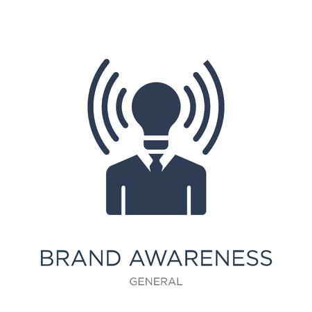 브랜드 인지도 아이콘입니다. 일반 컬렉션, 벡터 일러스트 레이 션에서 흰색 배경에 유행 플랫 벡터 브랜드 인지도 아이콘은 웹 및 모바일, eps10에 사용할 수 있습니다.