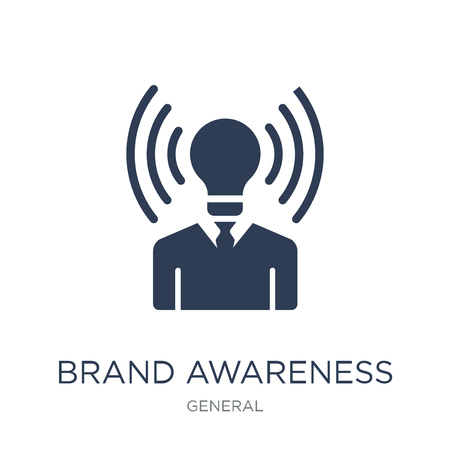 merkbekendheid icoon. Trendy platte vector merk bewustzijn pictogram op witte achtergrond uit algemene collectie, vectorillustratie kan worden gebruikt voor web en mobiel, eps10