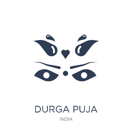 durga puja icon. Trendy flat vector durga puja icon on white background from india collection, vector illustration can be use for web and mobile, eps10 Фото со стока - 112229721