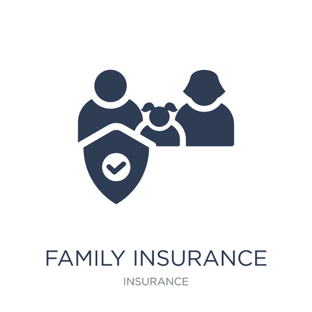 Family insurance icon. Trendy flat vector Family insurance icon on white background from Insurance collection, vector illustration can be use for web and mobile, eps10 Foto de archivo - 112229719