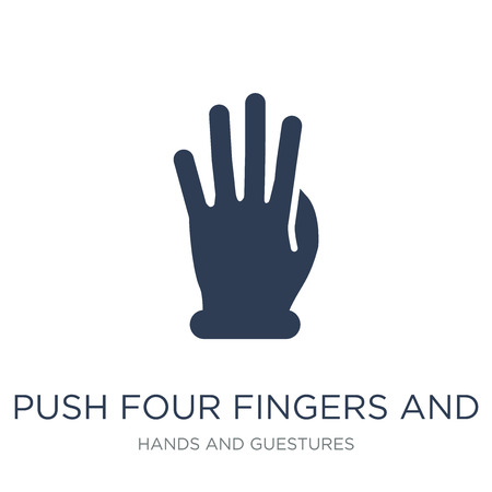 Push four fingers and move gesture icon. Trendy flat vector Push four fingers and move gesture icon on white background from Hands and guestures collection, vector illustration can be use for web and mobile, eps10