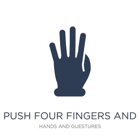 Spingi quattro dita e sposta l'icona del gesto. Piatto vettoriale alla moda Spingere quattro dita e spostare l'icona del gesto su priorità bassa bianca dalla raccolta di mani e ospiti, illustrazione vettoriale può essere utilizzata per il web e mobile, eps10