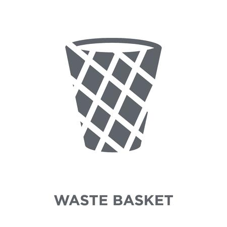 Waste basket icon. Waste basket design concept from Furniture and household collection. Simple element vector illustration on white background. Ilustração