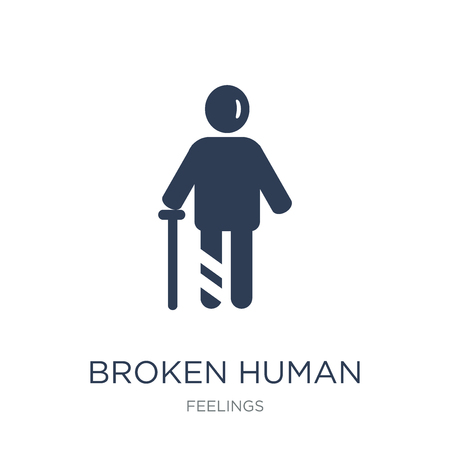 broken human icon. Trendy flat vector broken human icon on white background from Feelings collection, vector illustration can be use for web and mobile, eps10 Ilustração