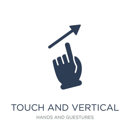 Touch and vertical sliding gesture icon. Trendy flat vector Touch and vertical sliding gesture icon on white background from Hands and guestures collection, vector illustration can be use for web and mobile, eps10
