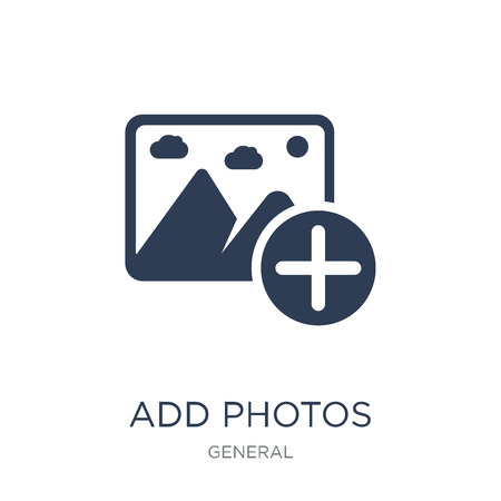 add photos icon. Trendy flat vector add photos icon on white background from general collection, vector illustration can be use for web and mobile, eps10 Ilustração