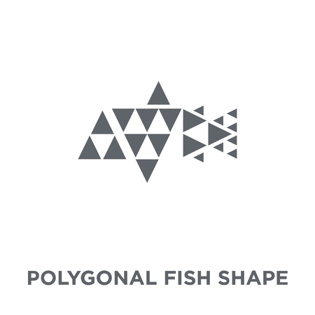Polygonal fish shape of small triangles icon. Polygonal fish shape of small triangles design concept from Geometry collection. Simple element vector illustration on white background.