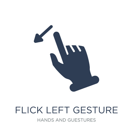 Flick Left gesture icon. Trendy flat vector Flick Left gesture icon on white background from Hands and guestures collection, vector illustration can be use for web and mobile, eps10 Illustration