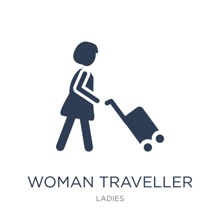 Woman Traveller icon. Trendy flat vector Woman Traveller icon on white background from Ladies collection, vector illustration can be use for web and mobile, eps10