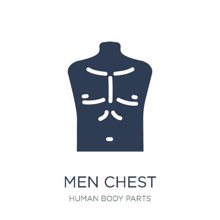 Men Chest icon. Trendy flat vector Men Chest icon on white background from Human Body Parts collection, vector illustration can be use for web and mobile, eps10 Stock Vector - 112229857