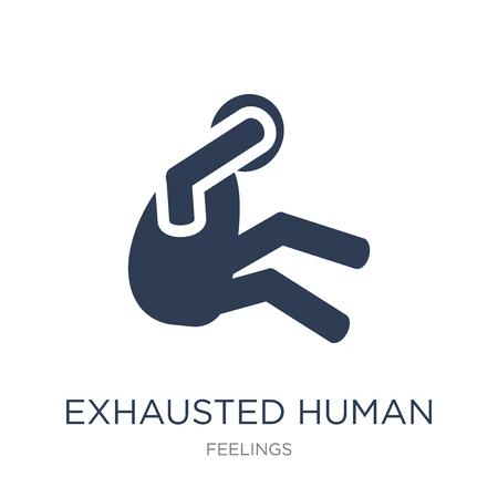 exhausted human icon. Trendy flat vector exhausted human icon on white background from Feelings collection, vector illustration can be use for web and mobile, eps10 Illustration