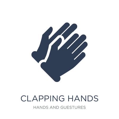 Icono de manos aplaudiendo. Icono de manos aplaudiendo moda vector plano sobre fondo blanco de colección de manos y guestures, Ilustración de vectores se puede utilizar para web y móvil, eps10
